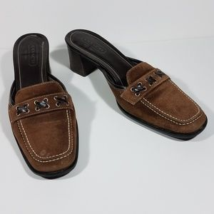 Coach Iris brown leather mules clogs size 7.5 B